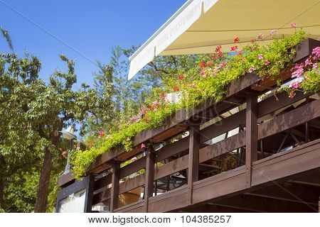 Veranda of the restaurant with flower, Prague