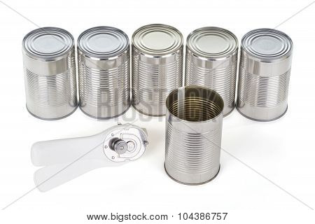 Opened Tin And Can Opener