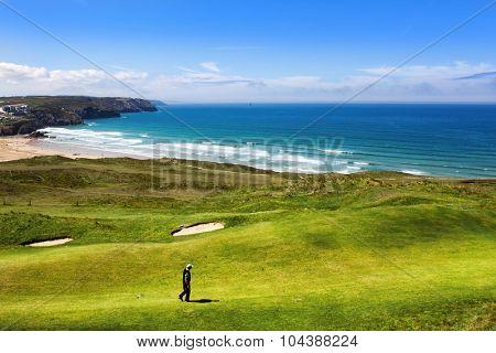 Golf course on an ocean coast
