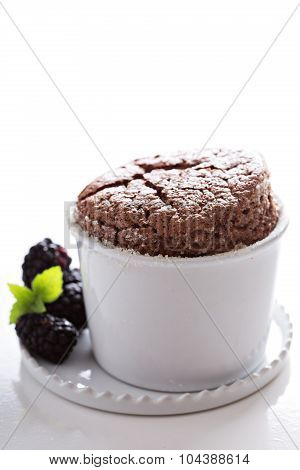 Chocolate souffle with thick glaze