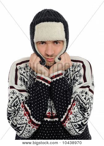 Expressions. Funny Winter Men In Warm Hat And Clothes. Isolated On White Background