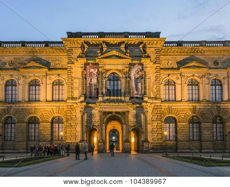 The Outside Facade Of The Old Masters Picture Gallery In Zwinger