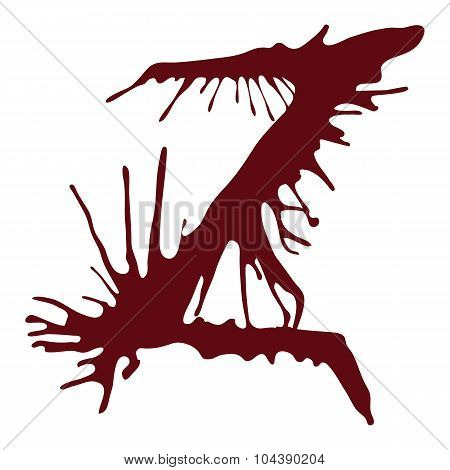 Dripping blood ink fonts the letter Z.