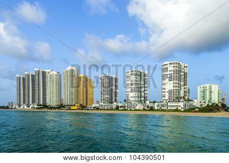 Beautiful Jade Beach In Miami With Skyscrapers