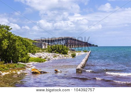 Old Railway Bridge At Bahia Honda Near Key West