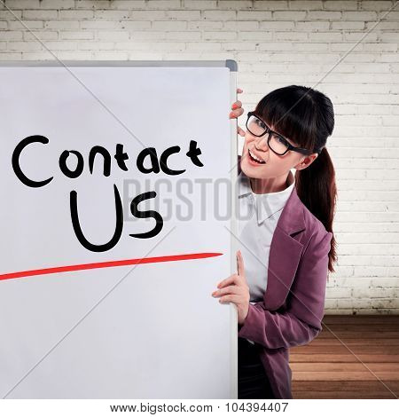 Asian Business Woman Write Contact Us