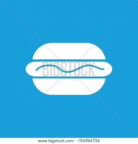 Hotdog with sauce icon, white