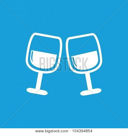 2 wine glasses icon, white