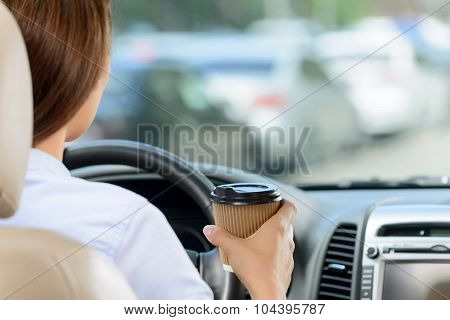 Pleasant girl driving a car