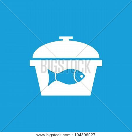 Fish in saucepan icon, white
