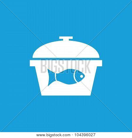 Fish in saucepan icon, white