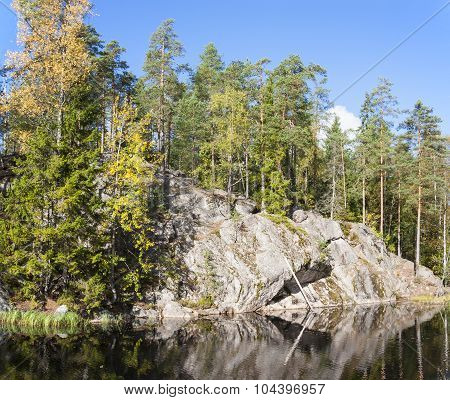 Cliff Surrounded By Forest Near Lake