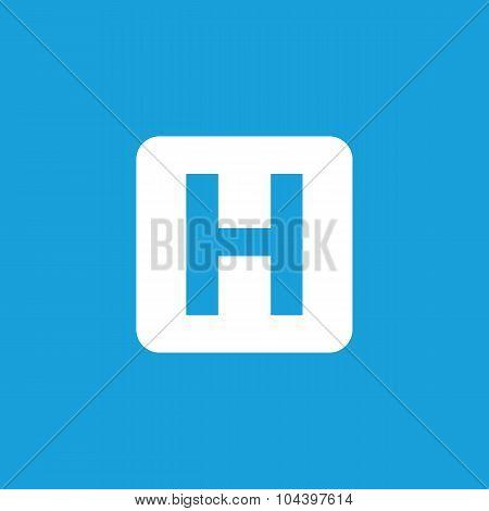 Hospital sign icon, white
