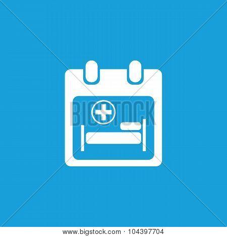 Hospital calendar icon, white