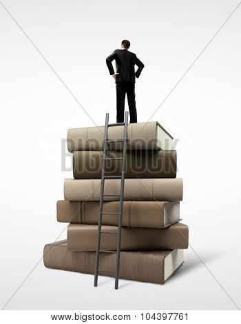 Businessman Standing On Book