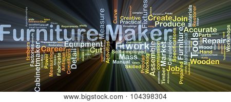 Background concept wordcloud illustration of furniture maker glowing light