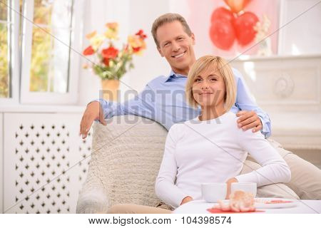 Pleasant couple sitting in the armchair