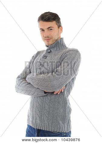 Young Handsome Possitive Man In Warm Winter Casual Clothes Smiling. Isolated On White Background