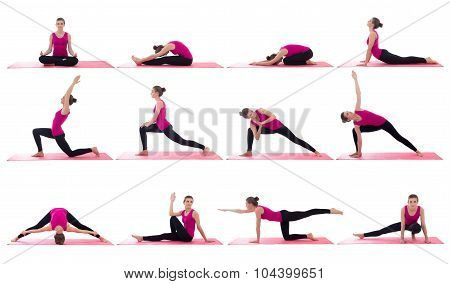 Sport Concept -beautiful Slim Sporty Woman Doing Yoga In Different Poses On Pink Mat Isolated On Whi