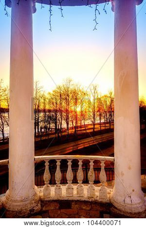 Sun setting over the Volga River in the city of Kostroma, Russia