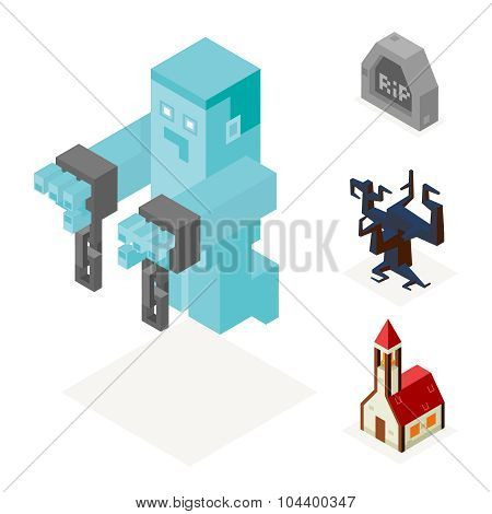 Halloween Ghost Icons Set Church Cursed Tree Gravestone Trick or Treat Flat Design Isometric 3d Vect