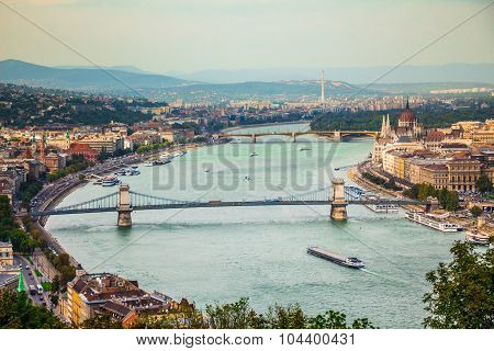 Budapest city view at the Hungarian Parliament and Margaret Island
