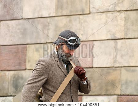 Man Wearing Old Fashioned Tweed Clothes