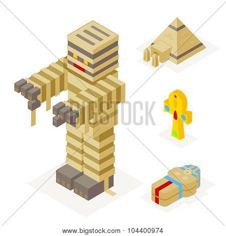 Halloween Mummy Icons Set Pyramid Ankh Sarcophagus Trick Treat Flat Design Isometric 3d Vector Illus