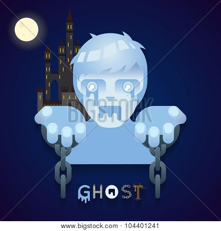 Halloween Party Ghost Role Character Bust Icons Stylish Background Flat Design Greeting Card Templat