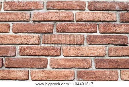 Decorative Relief Cladding Slabs Imitating Bricks  On Wall Closeup