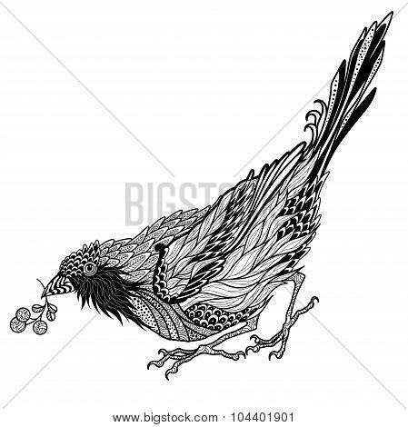 Bird tattoo. psychedelic, zentangle style