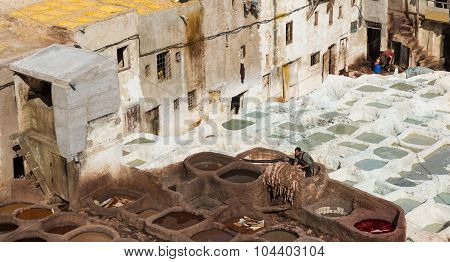 The Worker Prepare Leather In Chouara Tannery In Fes