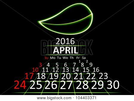 April 2016 calendar dark technology 3d style abstrat background. Vector Illustration.