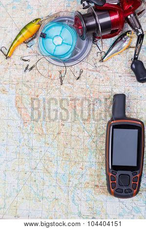 Fishing Journey With Tackles And Gps Navigator