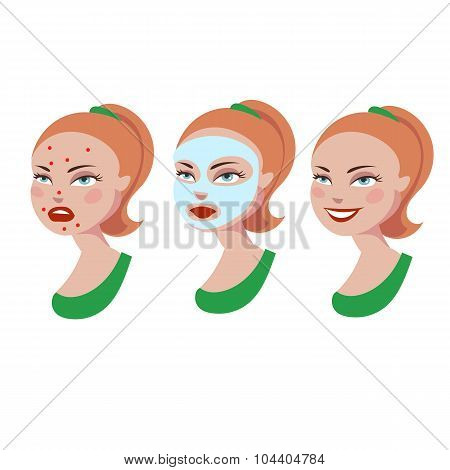 Cartoon girl with skin problem. Cosmetic product against acne