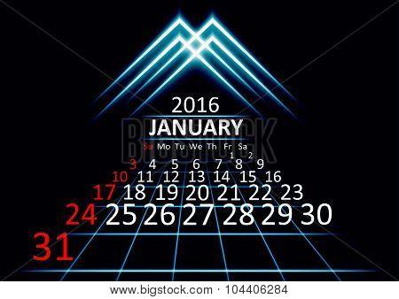 January 2016 calendar dark technology 3d style abstrat background. Vector Illustration.