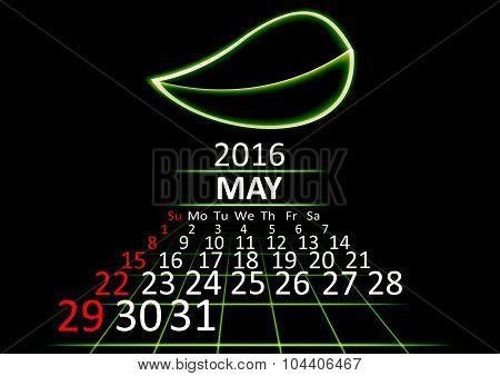May 2016 calendar dark technology 3d style abstrat background. Vector Illustration.