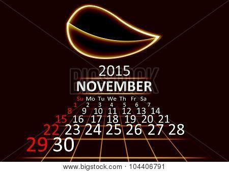 November 2015 calendar dark technology 3d style abstrat background. Vector Illustration.