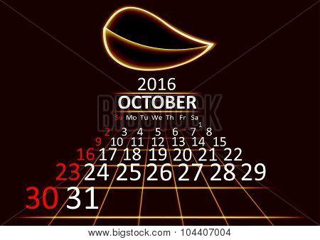 October 2016 calendar dark technology 3d style abstrat background. Vector Illustration.