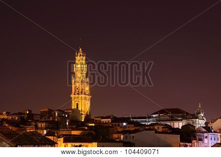Church Klerigush in night Porto, Portugal