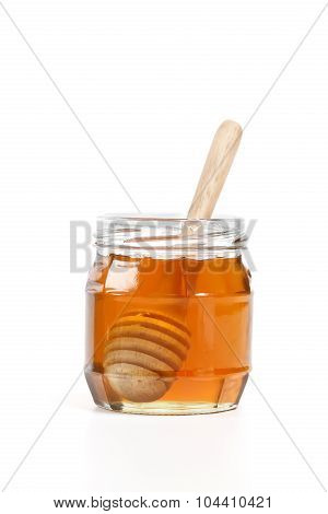 Honey Dipper Delicious White Background Closeup Sweet Healthy