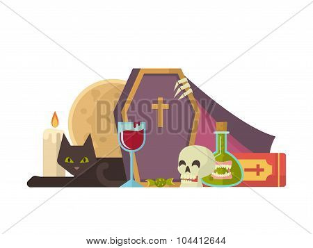 Halloween illustration with coffin and other elements.
