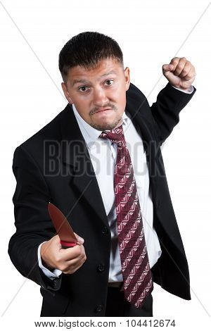 Angry Businessman Threaten With A Knife
