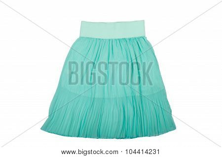 Blue pleated skirt isolated on white background
