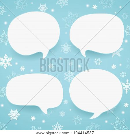 Winter labels in form of speech bubbles