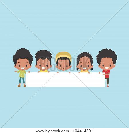 African-American Boys with Blank Banner