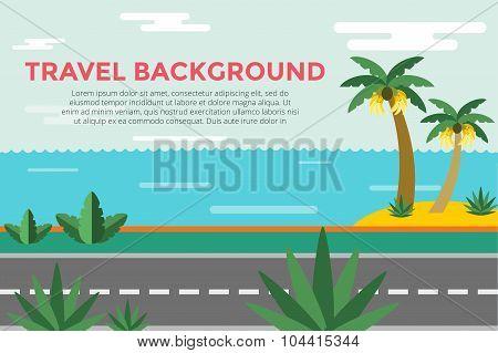 Beautiful colorful summer seascape illustration