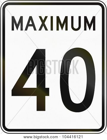 Speed Limit 40 In Canada