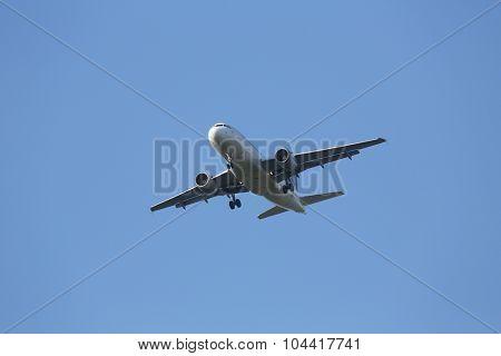ZAGREB, CROATIA - JUNE 10: Airbus A319, registration 9A-CTI of Croatia Airlines landing on Zagreb Airport Pleso on June 10, 2015.