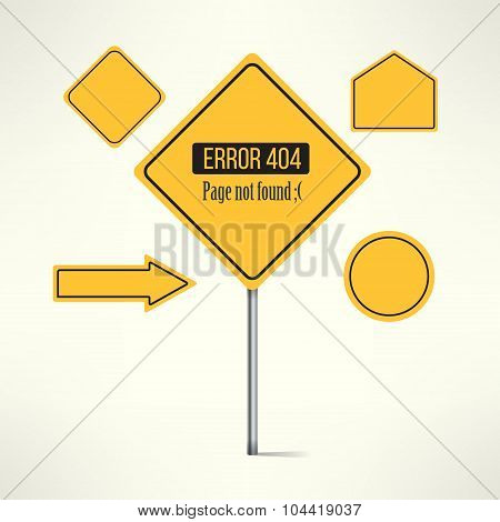 Vector 404 web page not found error made with road sign design